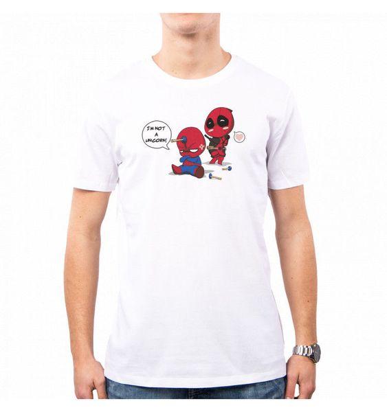 T-SHIRT UOMO UNICÓRNIO SPIDY SPIDERMAN DEADPOOL LC0015A PACDESIGN engraçado 100% camiseta de Algodão