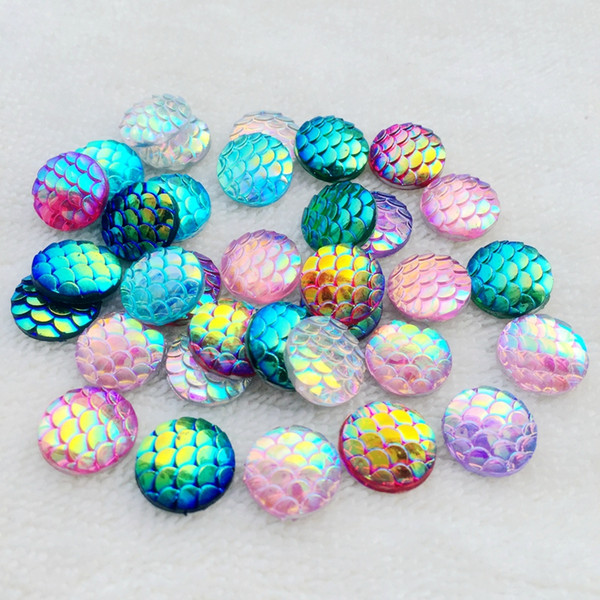 Bling Resin AB Fish Scale Flatback Rhinestone Buttons Round Cabochon Scrapbook For DIY wedding Crafts -A12