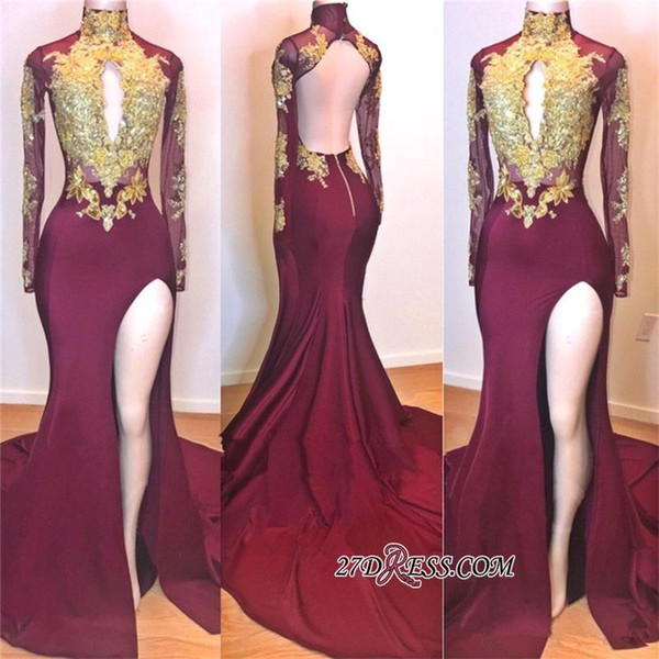 Maroon High Neck Prom Evening Dresses Gold Appliqued Long Sleeves burgundy Formal Party Gown Mermaid Pageant Celebrity Gown Custom Made