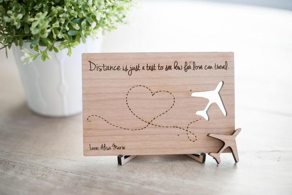 Wooden postcard- long distance relationship- Distance Is Just A Test Postcard , Valentines Day Post Card,Custom Valentines gifts