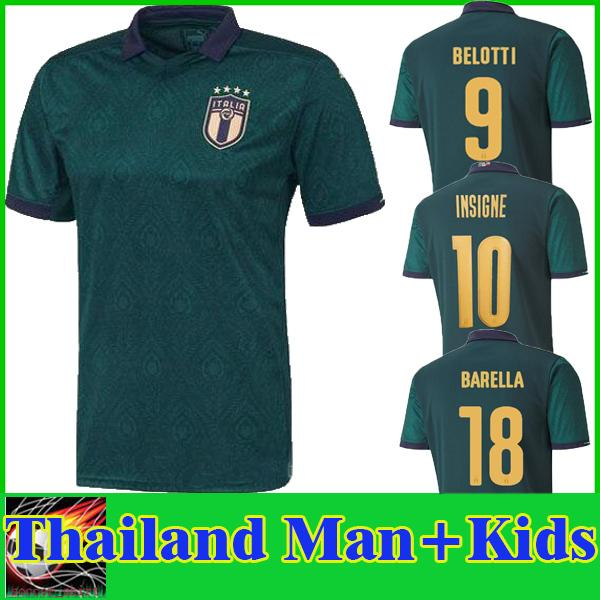 best selling 2019 2020 ITALY Third BARELLA SENSI INSIGNE Soccer Jersey Thailand 19 20 European Cup CHIELLINI BELOTTI BERNARDESCHI Football Shirt Men Kids