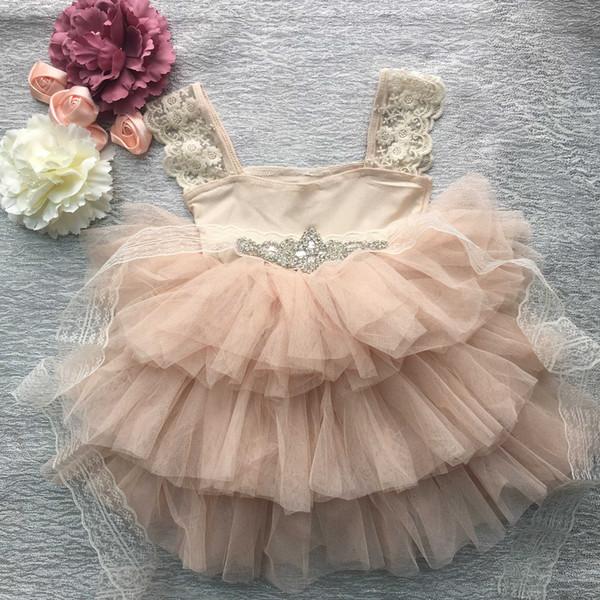 Varejo lindo strass caixilhos menina vestido de noite baby girl lace sling princesa tutu dress crianças traje formal mx190822