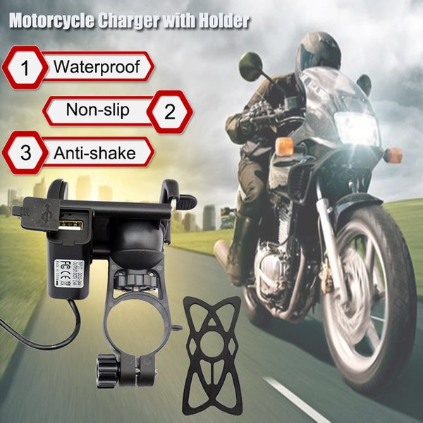 Universal Motorcycle Handlebar Mount Usb Charger With Phone Holder Mobile Support Stand For Iphone X 8 Gps Soporte Movil Moto J190507