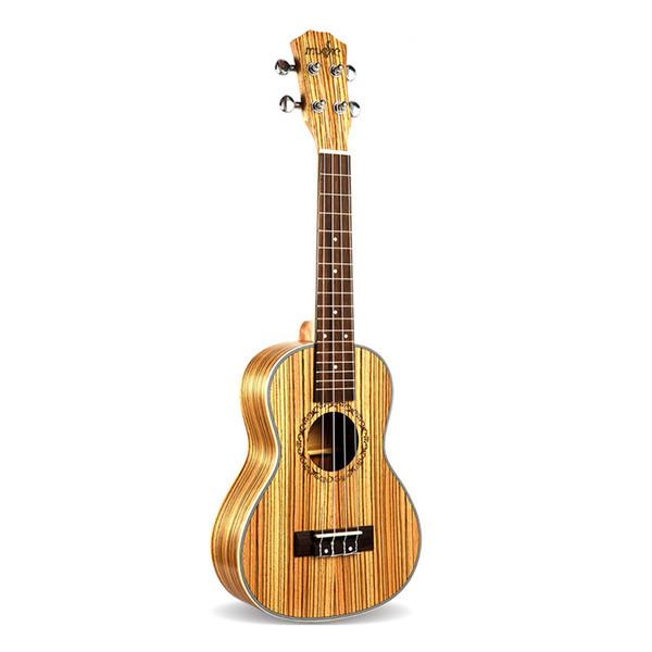 top popular 23 Inch Concert Zebra Wood Ukulele 4 Strings Hawaiian Mini Guitar Uku Acoustic Guitar Ukelele guitar For Music Lovers Gift 2021