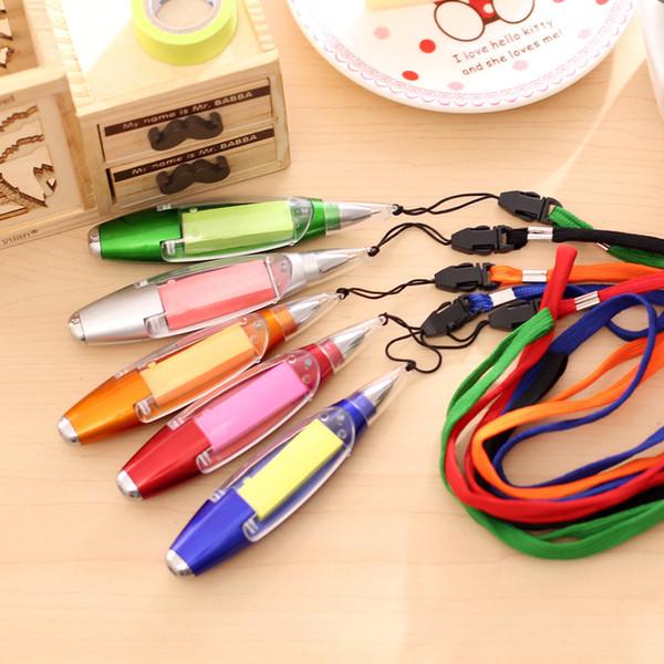 Creative Light Ball Pen Pen South Korea Stationery Multifunctional Lanyard Note Paper LED Light Pen Student Prize Plastic 13cm 21.4g OPP Bag
