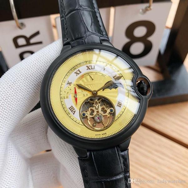 Mens Watch Movimento Mecânico Automático Vidro Resistente a Arranhões Pulseira de Couro Durável Quatro Cores Opcional Moon Phase Display Relógios de Luxo