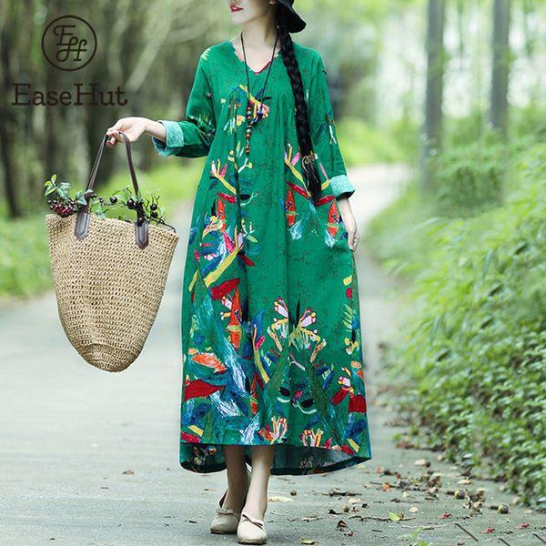 Easehut Women Boho Vintage Loose Casual Dress Printed Cotton Linen Dress Long Sleeves Oversized Robe Maxi Long Dress Vestidos J190713