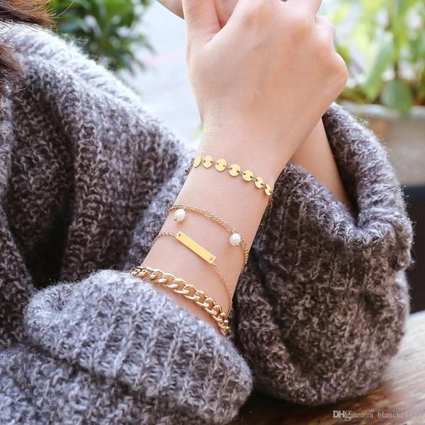 Nuovi bracciali multistrato per le donne Catenelle in argento placcato oro perline Semplice braccialetto geometrico vintage per polsino 4 pezzi / set Trasporto di goccia