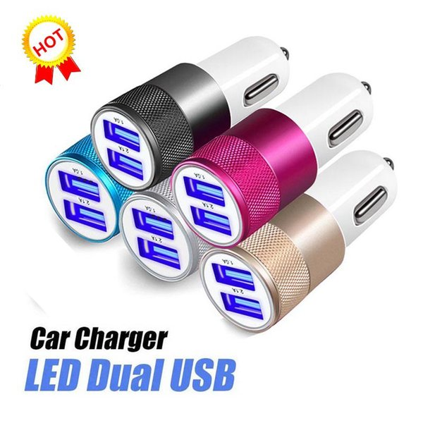 Mini Bullet Shape Car Charger With 2 Ports Universal Adapter For Tablet Cellphone Samsung For Iphone XS MAX X MP3 MP4 High Quality