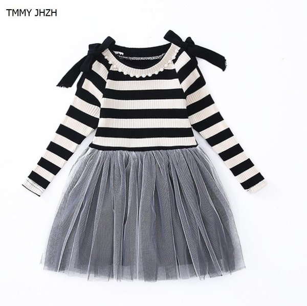 2019 Spring Autumn Baby Girl Dress Stripe Patchwork Princess Girl Dress Long Sleeve Toddler Kids Dresses for Girls 12 years old