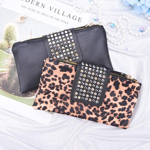 Women Rivet Zipper Handbag Leopard Print Clutch Bag Design Wallet Holder Card Coin Clutch Purse Wristlet Evening Bag Gifts #164768