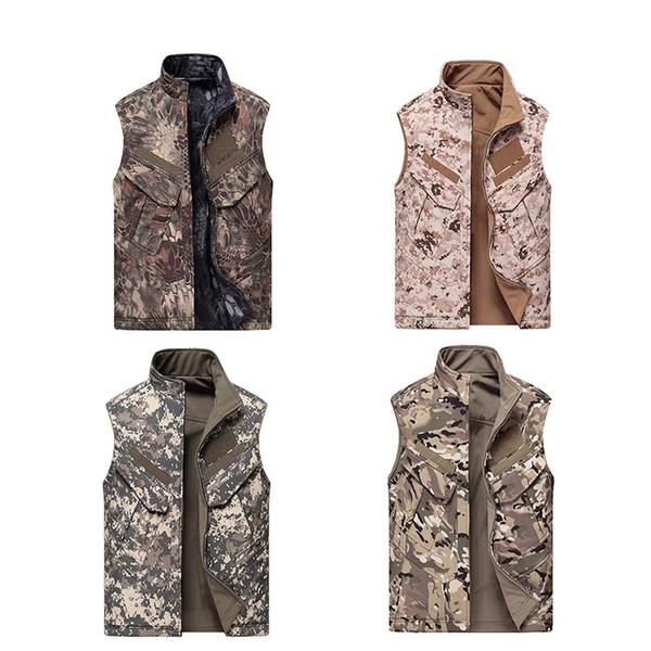 top popular Outdoor Hunting Shooting Tactical Camo Coat Combat Clothing Camouflage Windbreaker Softshell Jacket Softshell Outdoor Vest NO05-211 2021