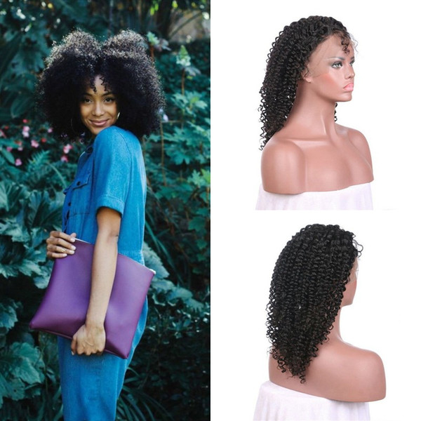 Hot Sale 100% Natural Cuticle Hair Afro Kinky Curly Lace Front Wig 8-26inch Ear To Ear Non Processed Wholesale Cheap