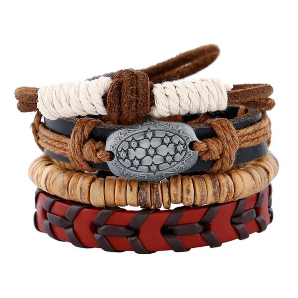 Europäischen und amerikanischen minimalistischen Retro-Anzug Armband Persönlichkeit DIY gewebt Lederarmband Coconut Shell Herren Schnur Lederarmband