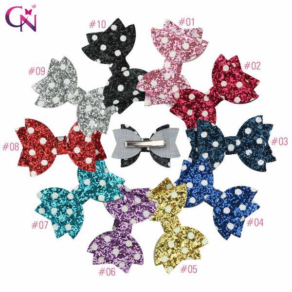 Hair Accessories 3 Inch Dot Hair Bows Bling Glitter Hair Clips For Children/Kids Fashion Hairgrip Polka Headwear