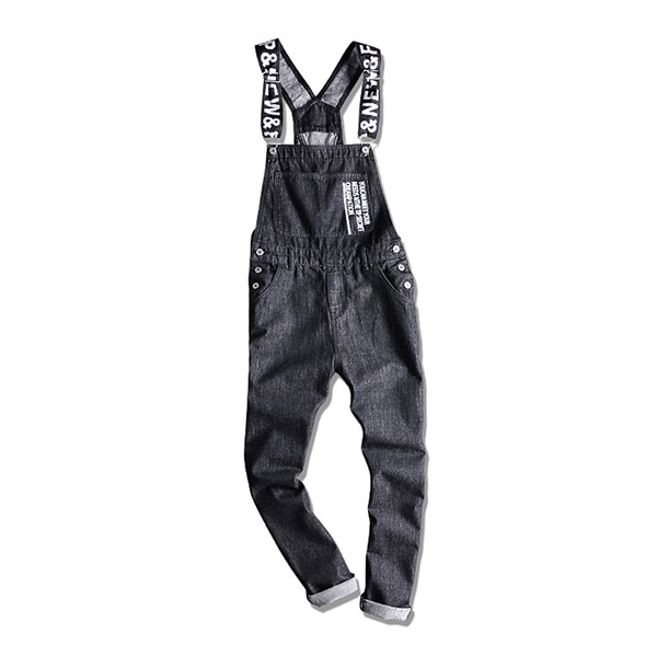 194bc3dcdbf 2018 New Men'S Letters Printed Black Denim Bib Overalls Fashion Slim Fit  Jumpsuits Plus Size S 5XL Jeans Pants From Licandy, $59.22 | DHgate.Com