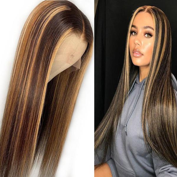 Resalte el frente del cordón Pelucas de cabello humano Ombre recto Pelucas delanteras de encaje brasileño sin cola Pre arrancado del cabello del bebé Raíz oscura Miel rubia