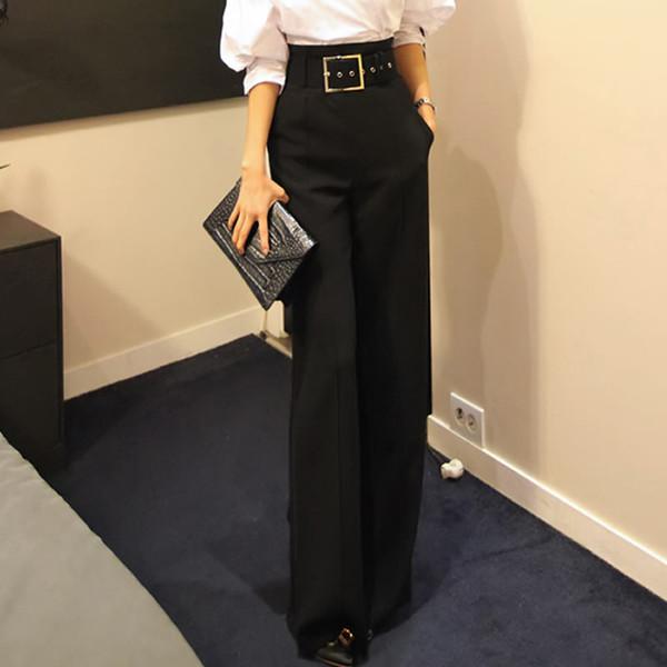 2018 Workwear Formal Preto Em Linha Reta De Cintura Alta Pantalon Traje Calças de Verão Calças Femininas Ampla Perna Para As Mulheres Calças C19041801
