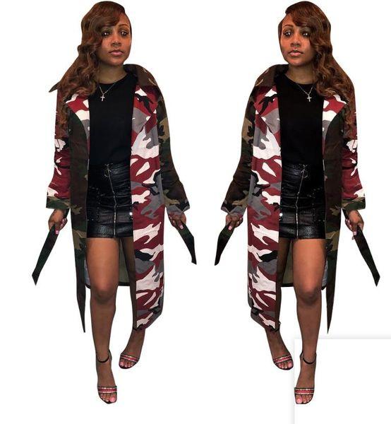 women Camo designer windbreaker long jacket camouflage outerwear lapel neck wind Trench Coat with belt streetwear dust coat with sashes lady