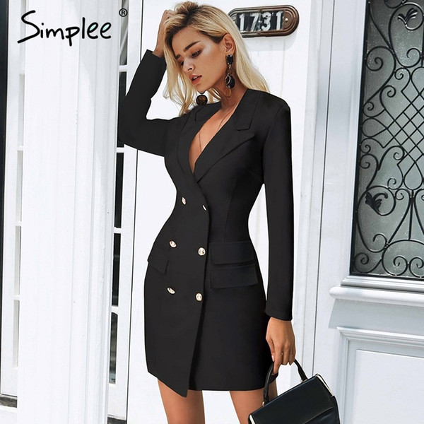 Elegant Double Breasted Women Black Dress Ladies Office White Blazer  Dresses Plus Size Summer Bodycon Female Dress Suit Short And Long Dresses  Evening ...