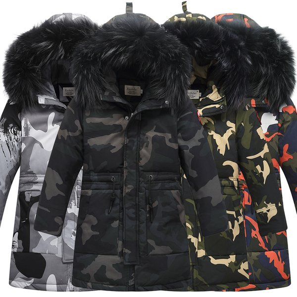 Winter Children's Down Jackets Camouflage style Boy Down Coats Fur Teenager Kids parka Down Outerwear -30degree 9958 130CM-160CM