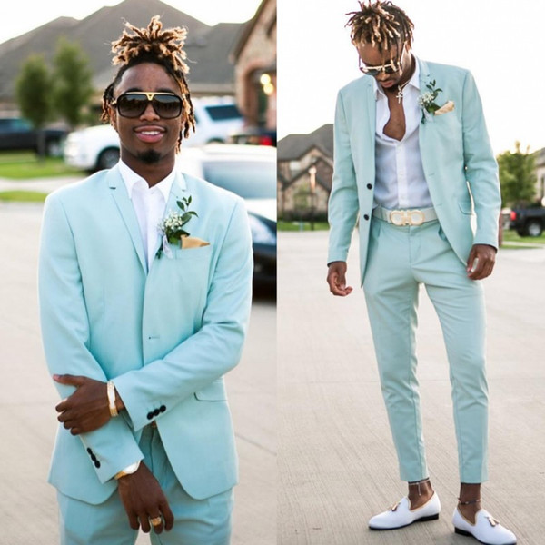 2019-2020 Mint Green Mens Suits Slim Fit Two Pieces Beach Groomsmen Wedding Tuxedos For Men Peaked Lapel Formal Prom Suit (Jacket+Pants)