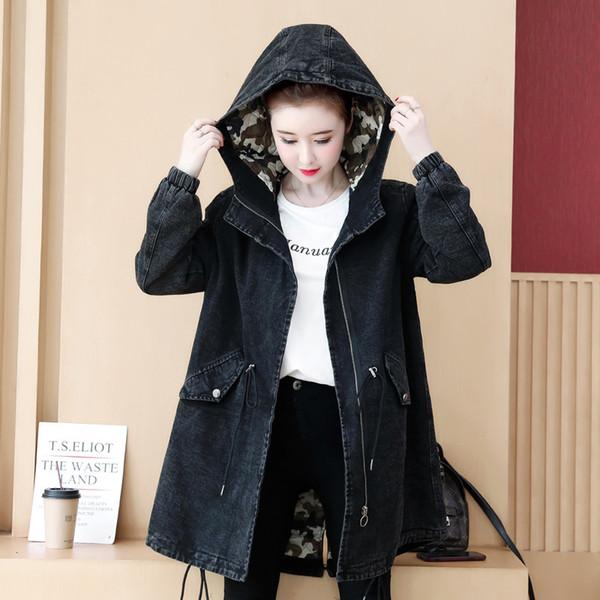 Зима женщины джинсовое пальто 2019 Новый утолщение камуфляж стеганые джинсовые куртки женский средней длины с капюшоном хлопок верхняя одежда JIA502