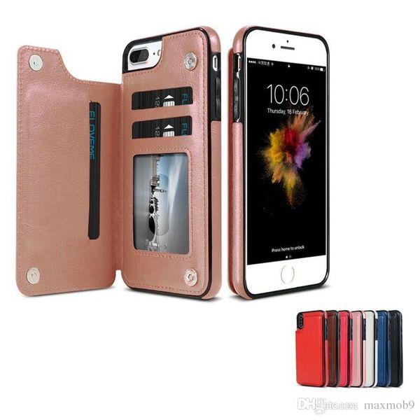 Retro pu ledertasche für iphone xs max xr x 6 7 8 plus multi kartenhalter handy case für samsung s8 s9 plus note 8 9 brieftasche case abdeckung