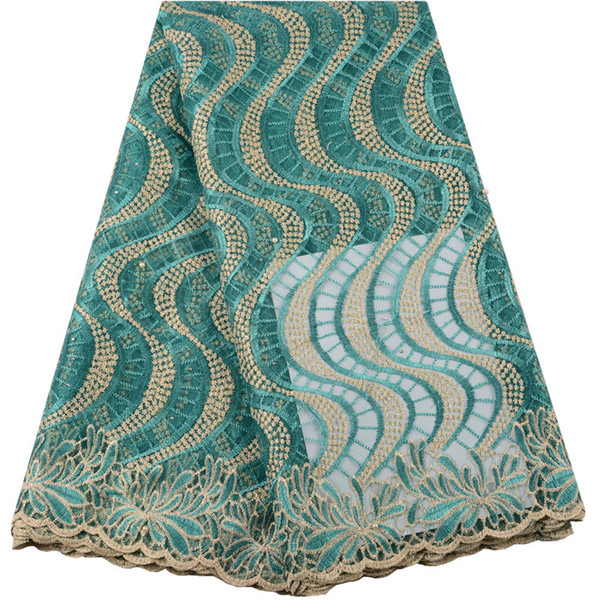 Best Selling Swiss voile laços de Tecido de Renda Africano Tecido De Tule Francês Nigeriano 2018 de Alta Qualidade Africano tecido de Renda talão A1442