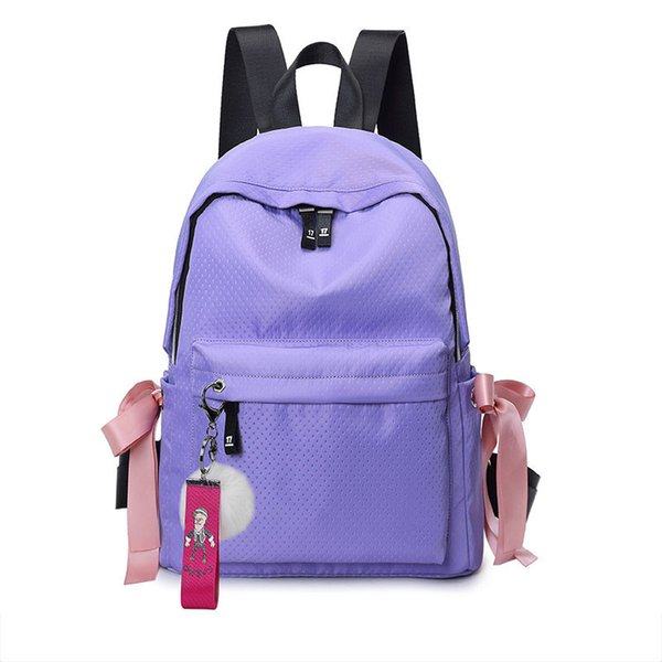 Backpack Women Rabbit Hair Decoration Waterproof Bookbags Waterproof Canvas Backpack Schoolbag For Girls Rucksack Casual Cd-168