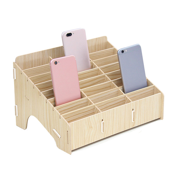Wooden 24 Cellphone Storage Compartments Multifunctional Organizer Box for Cell Phones Holder Desk Supplies