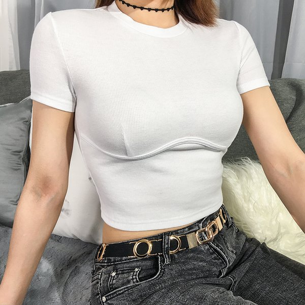 top popular Sweetown White Slim Sexy Cropped T Shirt Streetwear Women Short Sleeve Crewneck Tshirt Basic Sexy Crop Top T-Shirt Womens Tops 2020