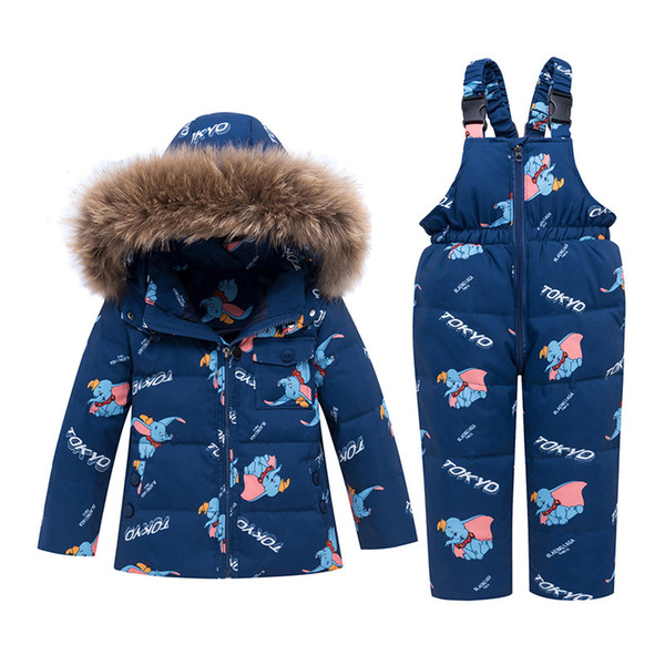 Kids Boys Girls Winter Duck Down Coat Snowsuit Hooded Lightweight Jacket parka