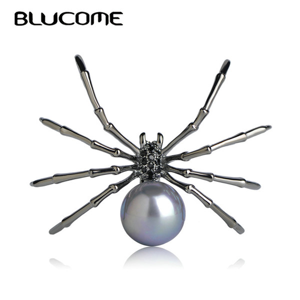 spider brooch Blucome Fashion Insects Brooches Copper Gun Black Color Simulated Pearl Spider Brooch Women Kids Coat Suit Clothes Accessories