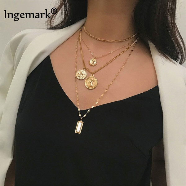 hain Necklaces Ingemark Multilayer Carved Coin Choker Necklace Boho Vintage Alloy Beads Angel Sun Flower Pendant Long Necklace Women Jewe...
