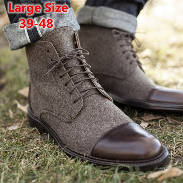 Erkekler Çizmeler Sonbahar Ayak Bileği Çizmeler Moda Ayakkabı Kış Dantel-Up Yüksek Kalite Vintage Erkekler Ayakkabı Artı Boyutu 39-48