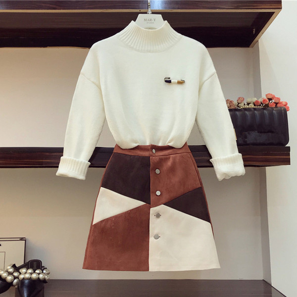 2018 Winter Two Piece Women Skirt Set Fashion Brooch White Pullover Sweater+Single-Breasted Color Block Bodycon Suede Skirt Suit