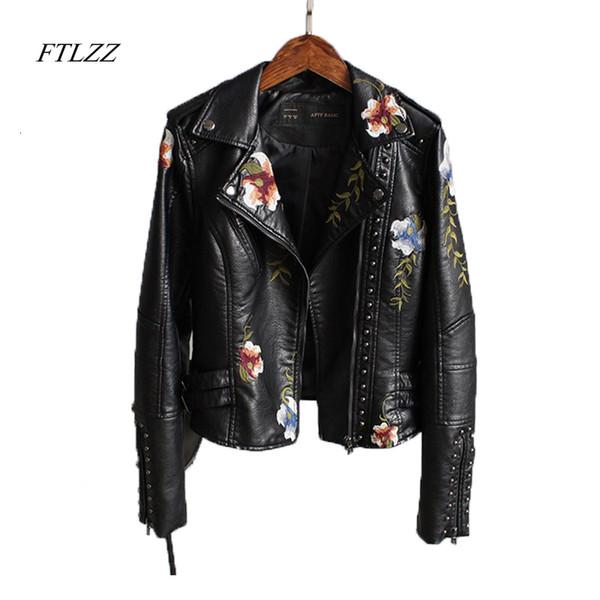 Ftlzz Mulheres Floral Imprimir bordado do falso do revestimento do revestimento de couro macio Vire-down Collar Casual Pu motocicleta preta Punk OuterwearMX190924