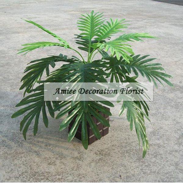 4pcs Silk Fabric 50cm Artificial Coconut Palm Plant Tree Wedding Home Office Furniture Decor Fake Foliage no Vase Green FL1515
