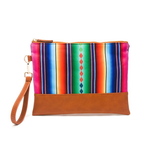 Serape Clutch With Rainbow Stripe Mosaic Case Wholesale Women Wristlet Purse Canvas Accessories Organizer Clutch Bag DOM10101074