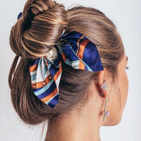 2019 New Chiffon Bowknot Silk Hair Scrunchies Women Pearl Ponytail Holder Tie Rubber Bands Hair Accessories