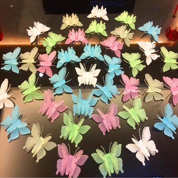 Wall Stickers Butterfly Novelty Noctilucent Luminous Plastic Sticker Ceiling Decal Home wallstickers