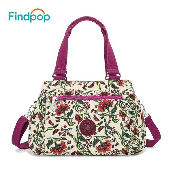 Findpop Floral Printing Handbags Women Waterproof Nylon Crossbody Bag For Women 2018 Large Capacity Casual Shell Top-Handle Bag Y1892608