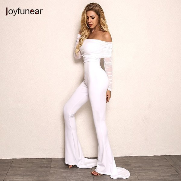 Joyfunear New Autumn Off Shoulder Sexy Rompers Womens Jumpsuit Women Cotton Black White Flares Long Sleeve Jumpsuits Overall Y19060501