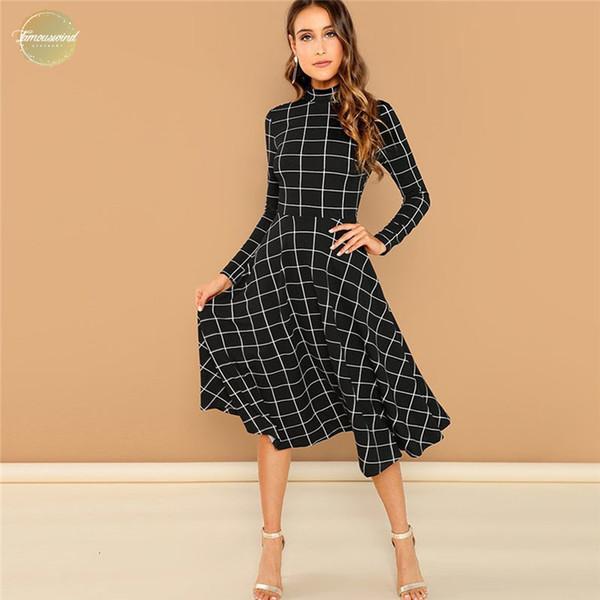 Плед Элегантный черный печати High Neck Fit и Flare с длинным рукавом высокой талией платье осени Осень Повседневная Женщины Длинные платья
