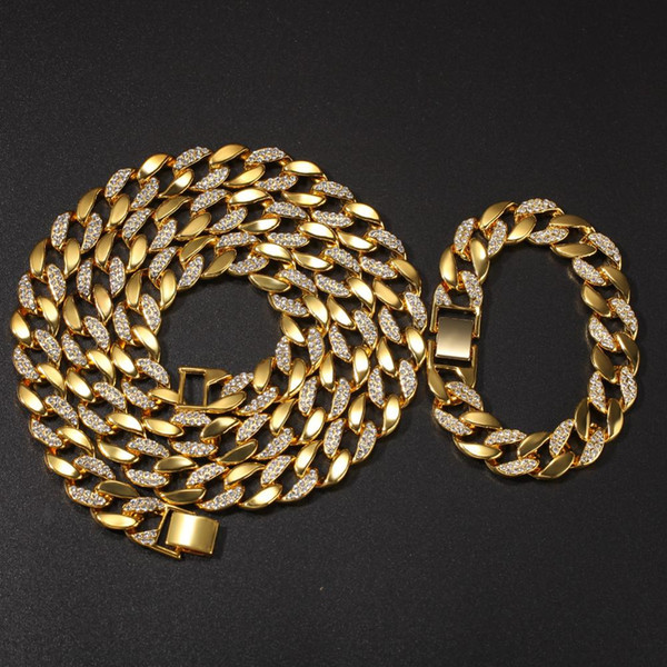 15mm wide Gold Silver Half Rhinestones Paved Round Cuban Necklace Bracelets Set Men Hip Hop Bling Iced Out Link Chain Jewelry