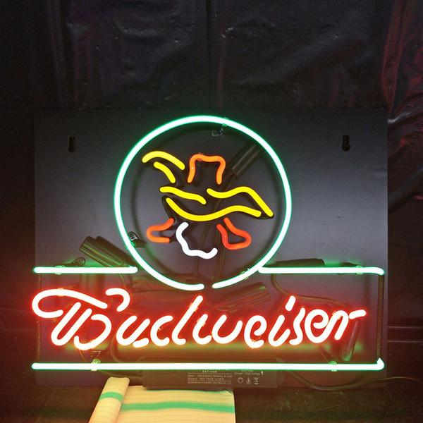 Acrylic Back Budweiser Neon Beer Sign Design Real Glass Tube Advertising Bar Home Decoration Art Display Neon Lamp Light 17'' 24'' 30''40''