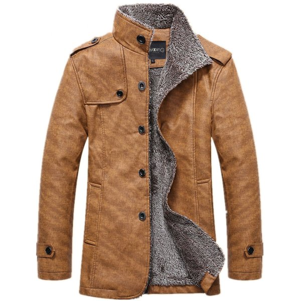 Men 'S Winter Jacket Men Pu Leather Motorcycle Warm Jackets Plus Velvet Windbreaker Male Casual Long Coat 4xl