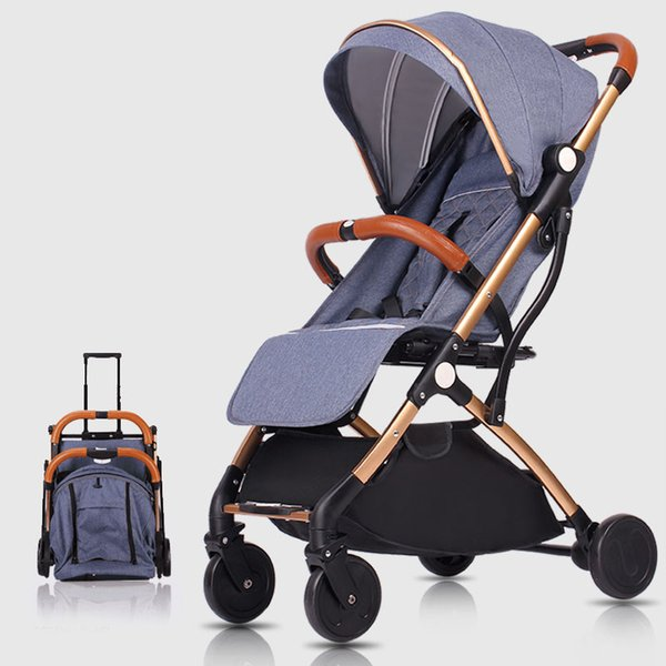 Baby Stroller 2 in 1 Stroller Lie Damping Folding Light Weight Two-way Baby Trolley Four Seasons
