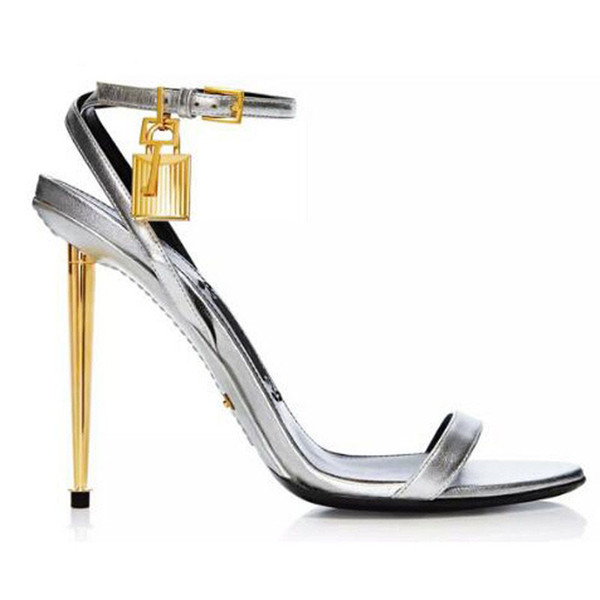 New Style Sexy Women Sandals Metallic Ankle-Lock Sandal Gold Heel Shoes Padlock High Heels Stiletto Fashion Sandal Shoes